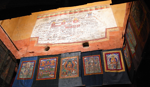 paintings at Diskit Gompa
