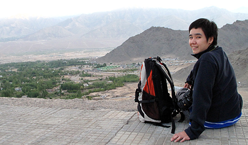 view of Leh from Santi Stupa